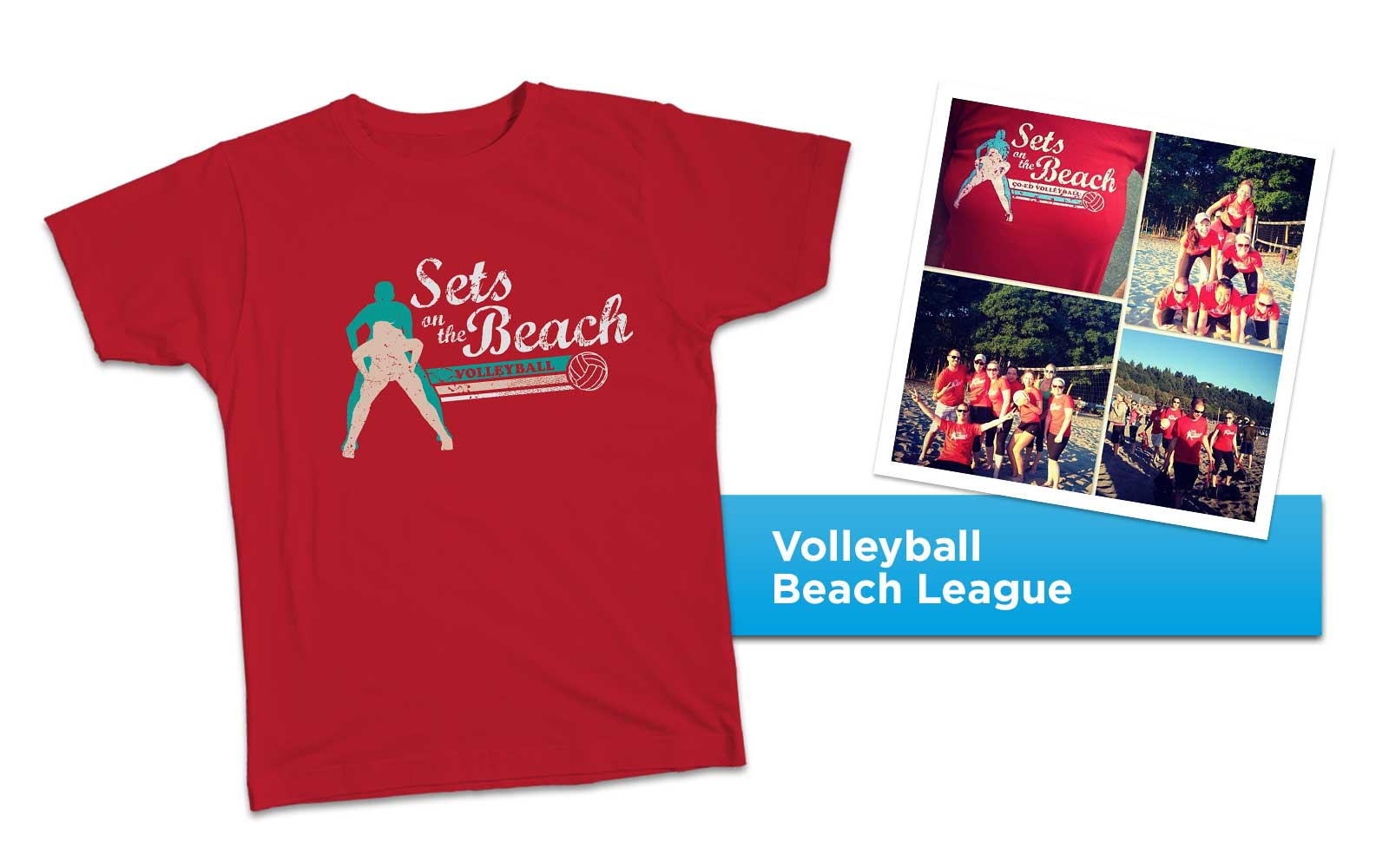 Sets on the Beach Coed Volleyball Logo Tee